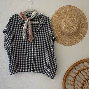 Who What Wear Cropped Gingham Button-Up Top